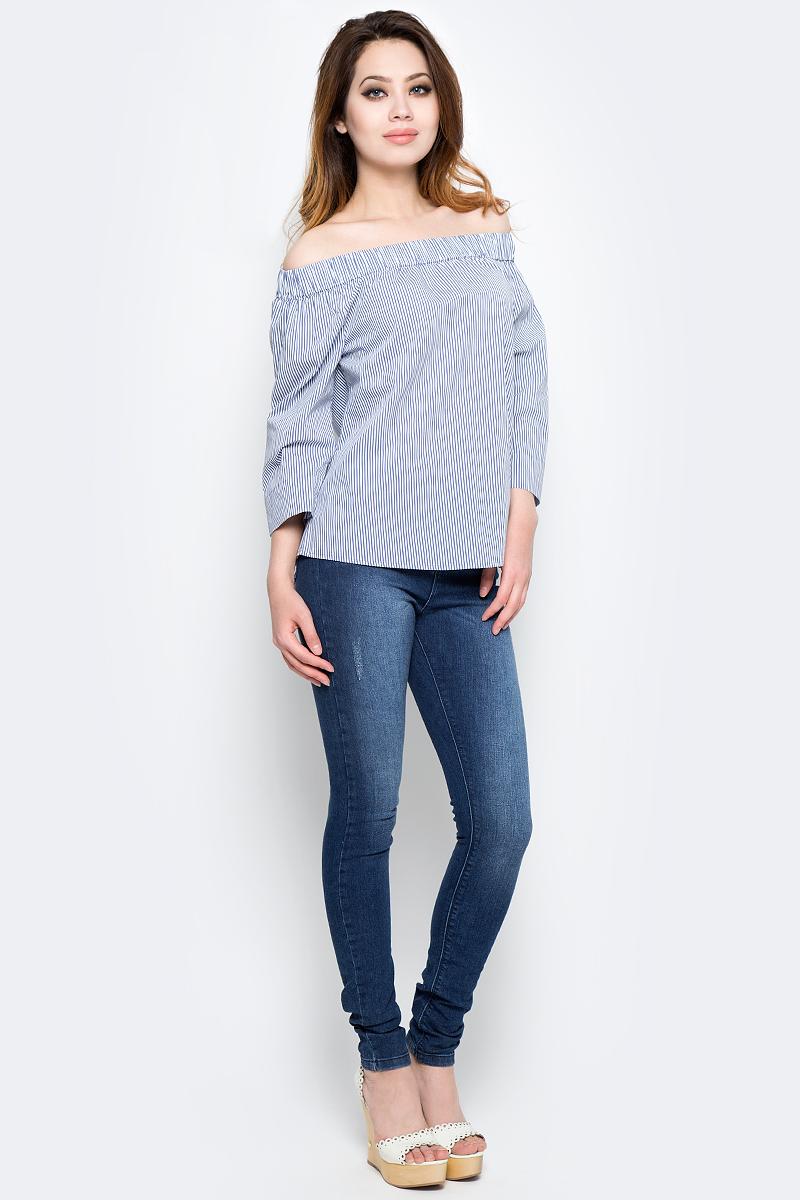 Блузка женская Tom Tailor, цвет: синий, белый. 2033255.01.75_6877. Размер 36 (42)2033255.01.75_6877Женская блузка Tom Tailor выполнена из хлопка с добавлением полиамида и эластана. Модель оформлена принтом в полоску. Модель с открытыми плечами, по верху дополнена эластичной резинкой. Рукава длины три четверти.