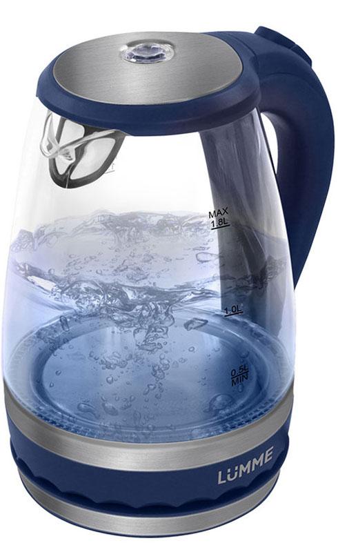 Lumme LU-220, Dark Blue электрический чайникLU-220Легкий ударопрочный стеклянный чайник Lumme LU-220 с голубой внутренней подсветкой в элегантном прозрачном корпусе из закаленного термостойкого стекла объемом 1.8 литра.Стекло сохраняет природный вкус и все натуральные свойства воды, а внутренний фильтр, закрывающий носик, служит для дополнительной фильтрации воды.Для скорейшего закипания чайник имеет повышенную до 2200 Вт мощность нагревательного элемента, закрытого плоским стальным дном для противостояния накипи, коррозии и удобства в уходе.Система автоматического отключения чайника при закипании или недостаточном количестве воды защитит чайник от преждевременного выхода из строя.Возможность ставить чайник на базу с любой стороны и вращать на 360 градусов, поворачивая ручкой к себе, исключает риск случайных ожогов и обеспечивает полный комфорт эксплуатации.Благодаря внутренней светодиодной голубой подсветке чайник особенно хорошо смотрится в работе и дарит отличное настроение красотой бликов закипающей воды.