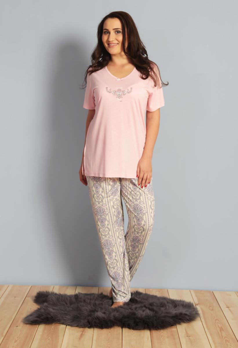Домашний комплект женский Kezokino, цвет: розовый. 610273 0621. Размер XXXL (54)610273 0621Красивый комплект, выполненный из 100% вискозы, состоит из футболки и брюк приятной расцветки. Отличный вариант для дома и отдыха на каждый день.
