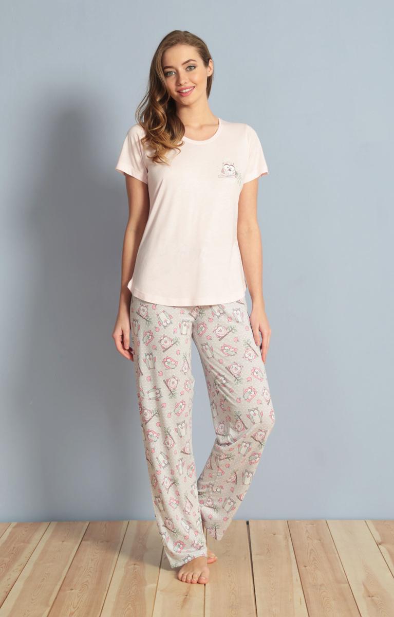 Домашний комплект женский Kezokino, цвет: розовый. 610173 1283. Размер S (44)610173 1283Красивый комплект, выполненный из 100% вискозы, состоит из футболки и брюк приятной расцветки. Отличный вариант для дома и отдыха на каждый день.