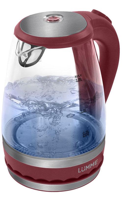 Lumme LU-220, Red Garnet электрический чайникLU-220Легкий ударопрочный стеклянный чайник Lumme LU-220 с голубой внутренней подсветкой в элегантном прозрачном корпусе из закаленного термостойкого стекла объемом 1,8 литра.Стекло сохраняет природный вкус и все натуральные свойства воды, а внутренний фильтр, закрывающий носик, служит для дополнительной фильтрации воды.Для скорейшего закипания чайник имеет повышенную до 2200 Вт мощность нагревательного элемента, закрытого плоским стальным дном для противостояния накипи, коррозии и удобства в уходе.Система автоматического отключения чайника при закипании или недостаточном количестве воды защитит чайник от преждевременного выхода из строя.Возможность ставить чайник на базу с любой стороны и вращать на 360 градусов, поворачивая ручкой к себе, исключает риск случайных ожогов и обеспечивает полный комфорт эксплуатации.Благодаря внутренней светодиодной голубой подсветке чайник особенно хорошо смотрится в работе и дарит отличное настроение красотой бликов закипающей воды.