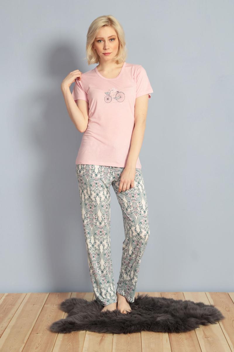 Домашний комплект женский Kezokino, цвет: розовый. 610029 1173. Размер XL (50)610029 1173Красивый комплект, выполненный из 100% вискозы, состоит из футболки и брюк приятной расцветки. Отличный вариант для дома и отдыха на каждый день.