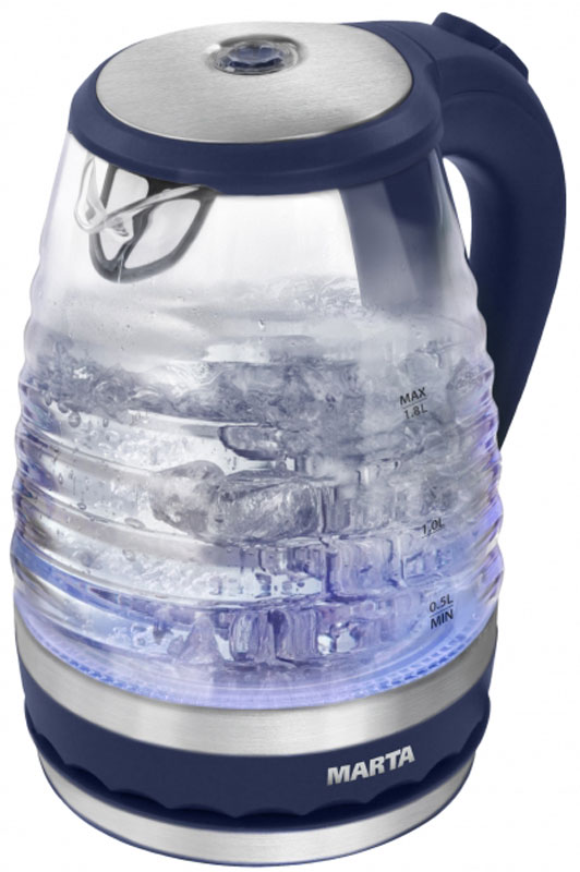 Marta MT-1085, Blue электрический чайникMT-1085Очень легкий и прочный стеклянный чайник Marta MT-1085 с голубой внутренней подсветкой в элегантномпрозрачном корпусе из закаленного стекла. Чайник имеет повышенную мощность для скорейшего закипания исъемный фильтр в носике для дополнительной фильтрации. Прозрачный корпус из закаленного стекла сохраняет природный вкус и натуральные свойства воды, не имеетзапаха и препятствует образованию накипи. Стеклянный чайник очень легок и при этом обладает высочайшейпрочностью.С помощью подсветки легко контролируется работа чайника. Внутренняя подсветка обеспечивает игру световыхбликов на кухне и дарит отличное настроение.Плоское дно внутри чайника очень функционально - легко моется, противостоит накипи, не ржавеет, некорродирует, а значит, обеспечивает максимально долгий срок службы чайника.Возможность вращения чайника на 360°. Крайне важная и быстро ставшая привычной функция, обеспечивающаяисключительное удобство и безопасность на любой кухне. Чайник можно снимать и ставить на базу с любойстороны без каких-либо усилий и риска обжечься.Автоматическое отключение при закипании или недостаточном количестве воды обезопасит чайник отпреждевременного выхода из строя. Вы сможете доверить управление чайником даже ребенку.