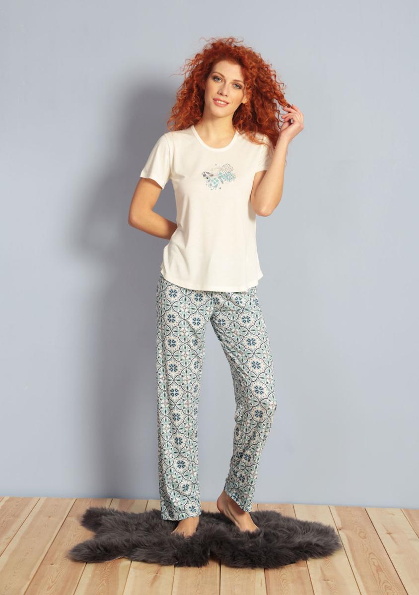 Домашний комплект женский Kezokino, цвет: молочный. 609105 0335. Размер L (48)609105 0335Красивый комплект, выполненный из 100% вискозы, состоит из футболки и брюк приятной расцветки. Отличный вариант для дома и отдыха на каждый день.