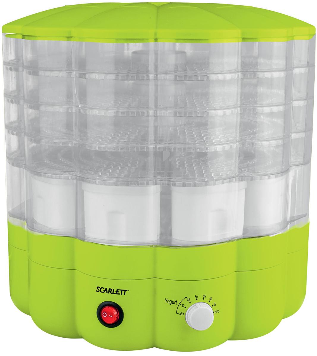 Scarlett SC-FD421001, Green сушилка для продуктовSC-FD421001Электросушилка Scarlett SC-FD421004 предназначена для сушки овощей, фруктов, грибов, трав и ягод в домашних условиях. Имеет 5 прозрачных поддонов, максимальная загрузка 1 поддона - 0,8 кг. Оригинальный дизайн, механическоеуправление, встроенный вентилятор. Набор для приготовления йогурта в комплекте: 9 пластиковых емкостей по 120 мл, и книга рецептов разнообразят вашу привычную кухню.