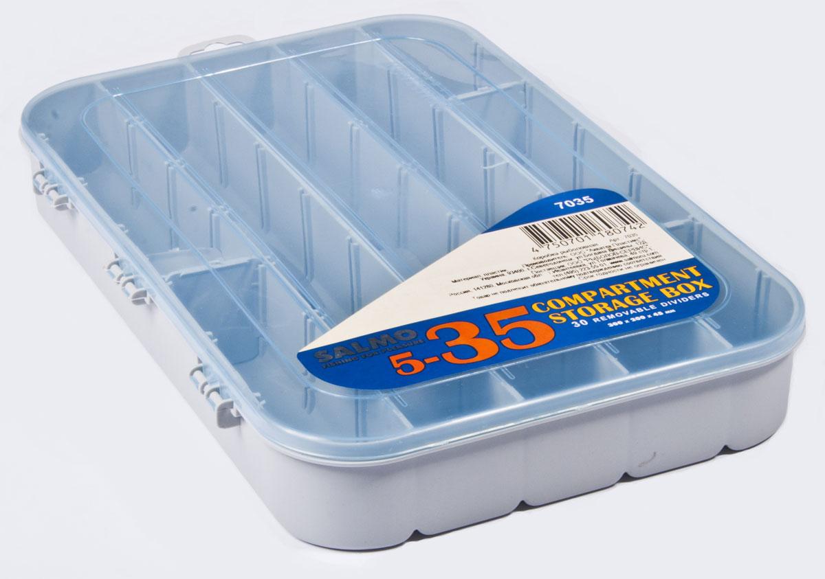 Коробка рыболовная Salmo Allround, универсальная, 30 x 20 x 4,5 см7035Большая односторонняя коробка Salmo Allround, выполненная из пластика, оснащена отсеками ипредназначена для хранения рыболовных мелочей.Съемные перегородки позволяют регулировать количество и размер отделений. В комплекте 30 перегородок.