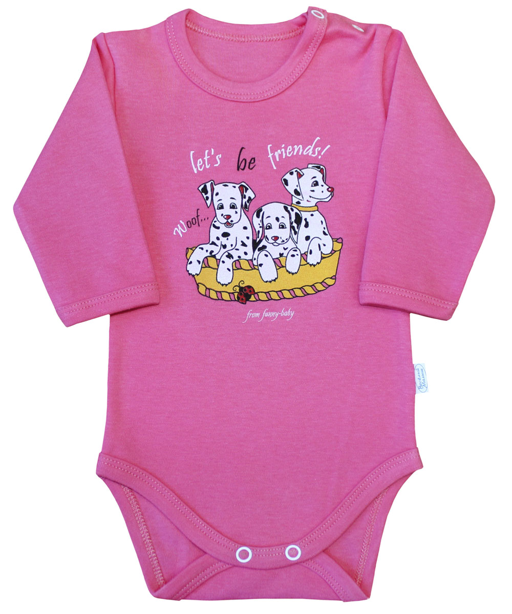 Боди для девочки Веселый малыш Далматинцы, цвет: розовый. 46322/да-C (1). Размер 68 боди и песочники веселый малыш боди водолазка мамина радость цветочки