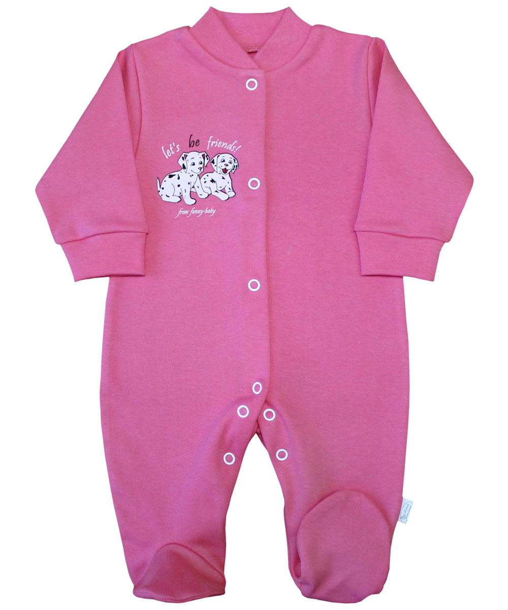 Комбинезон домашний для девочки Веселый малыш Далматинцы, цвет: розовый. 51322/да-F (1). Размер 86 комбинезоны и полукомбинезоны веселый малыш комбинезон олени 51142