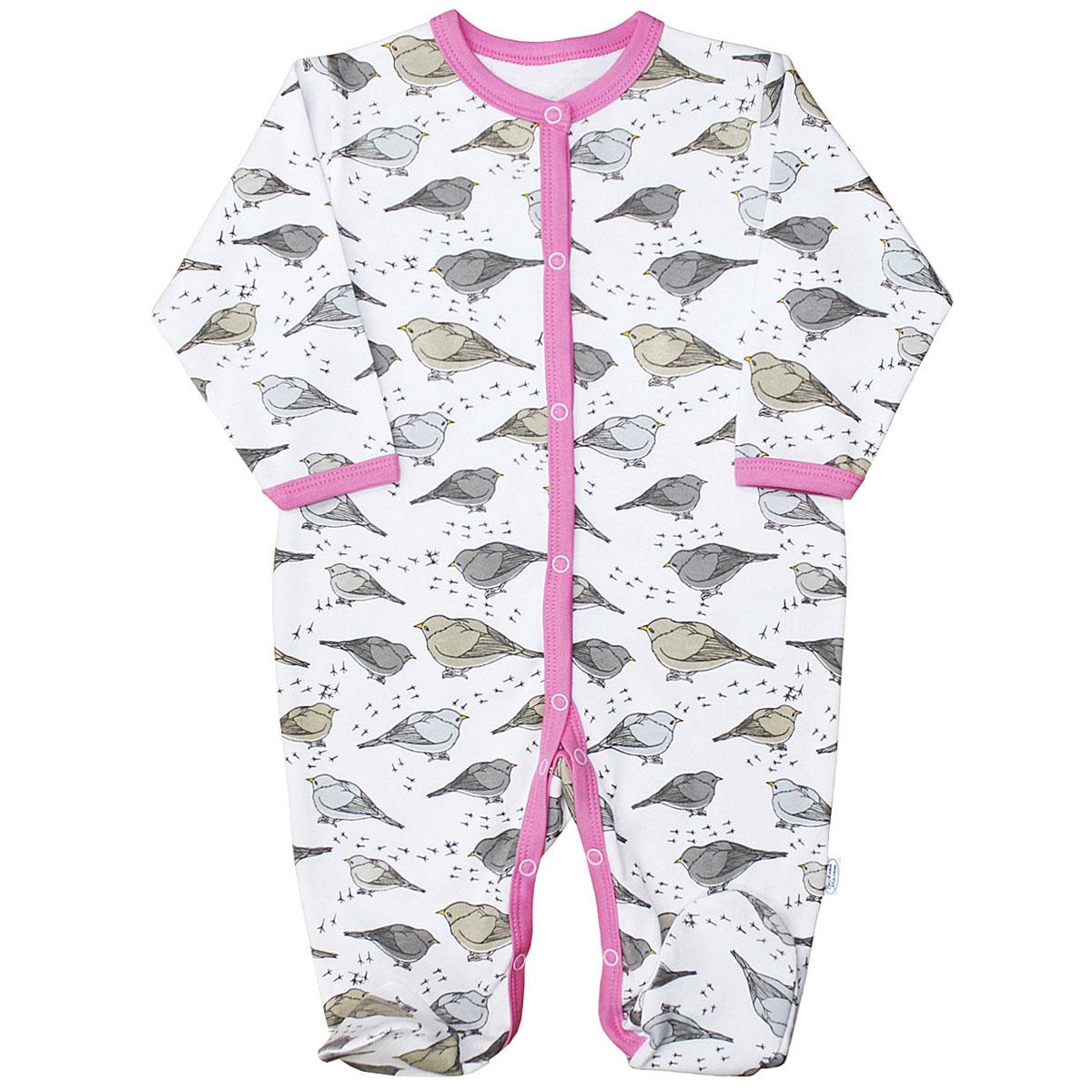 Комбинезон домашний для девочки Веселый малыш Птички, цвет: розовый. 156/322/пт-розовый. Размер 86 комбинезоны и полукомбинезоны веселый малыш комбинезон олени 51142