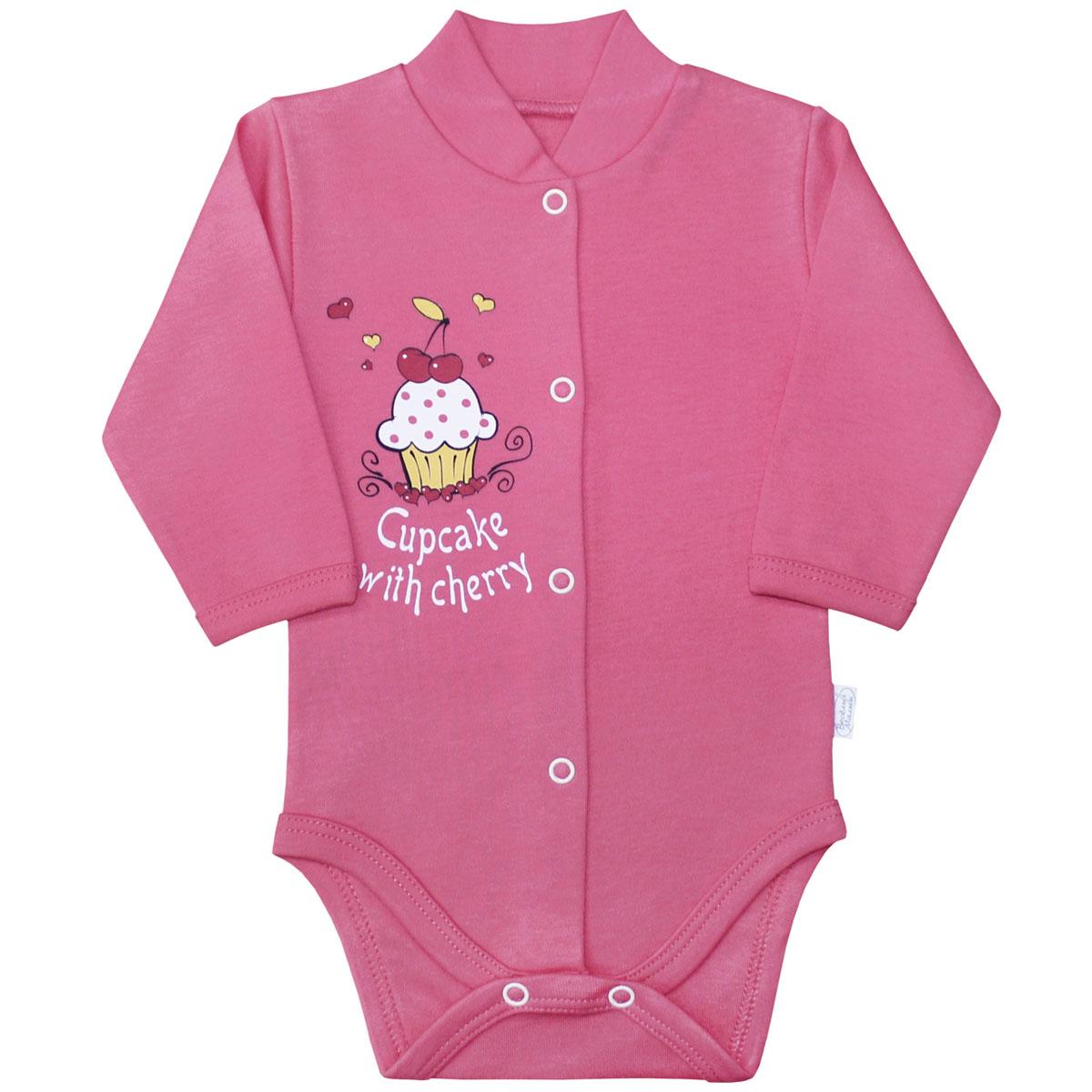 Боди для девочки Веселый малыш Спелая вишня, цвет: розовый. 141/322св-C (1). Размер 68 пижама для девочки веселый малыш цвет розовый 9215 m 1 размер 128