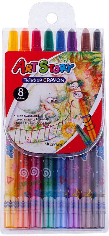 Crown Карандаши восковые 8 цветовTP-800Восковые карандаши Crown отличаются необыкновенной яркостью и стойкостью цвета, легко смешиваются, создавая огромное количество оттенков. Не токсичны и абсолютно безопасны.Восковые карандаши откроют юным художникам новые горизонты для творчества, а также помогут отлично развить мелкую моторику рук, цветовое восприятие, фантазию и воображение.Карандаши не нуждаются в затачивании. Стержень выкручивающийся.