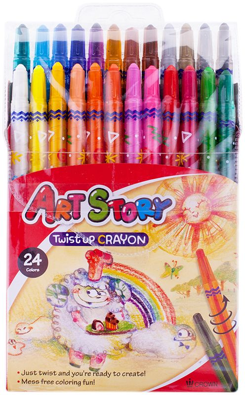 Crown Карандаши восковые 24 цвета карандаши восковые мелки пастель milan карандаши 235 24 цвета