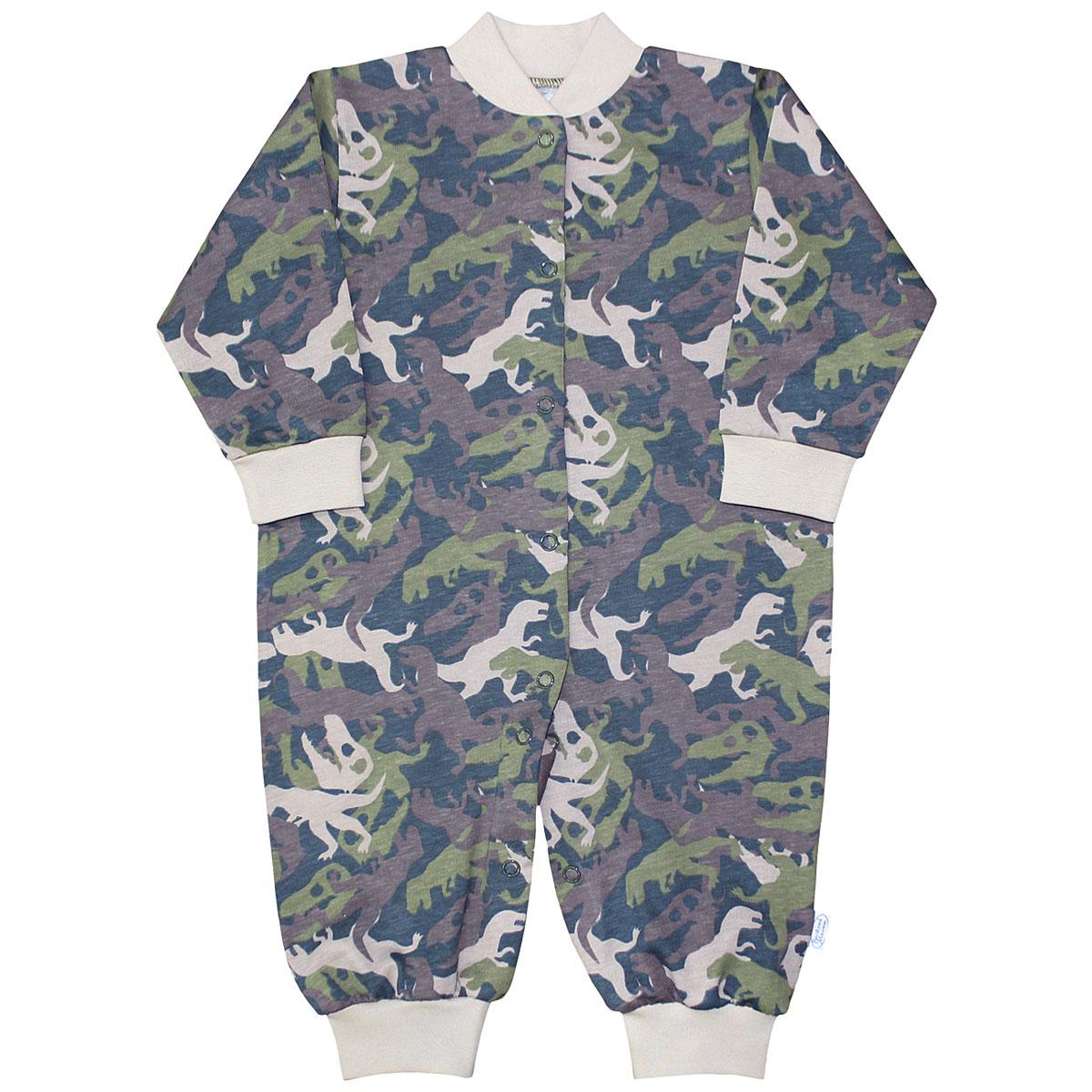 Комбинезон домашний для мальчика Веселый малыш Динозавры, цвет: темно-зеленый. 251/172/ди-хаки. Размер 86