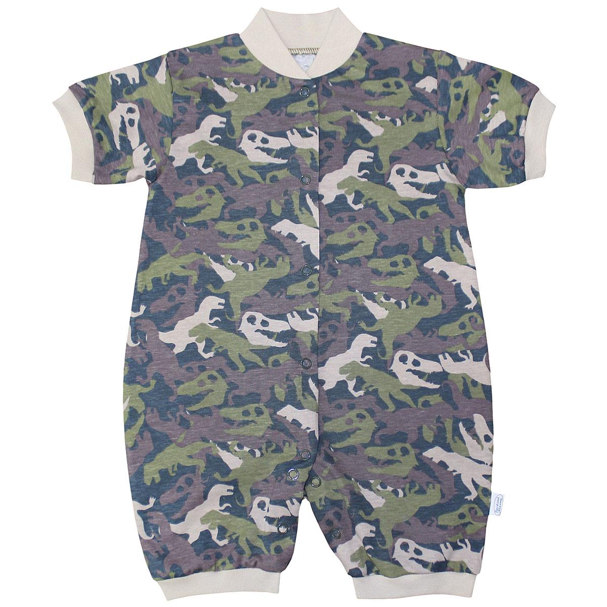 Боди для мальчика Веселый малыш Динозавры, цвет: темно-зеленый. 52172/ди-хаки. Размер 74