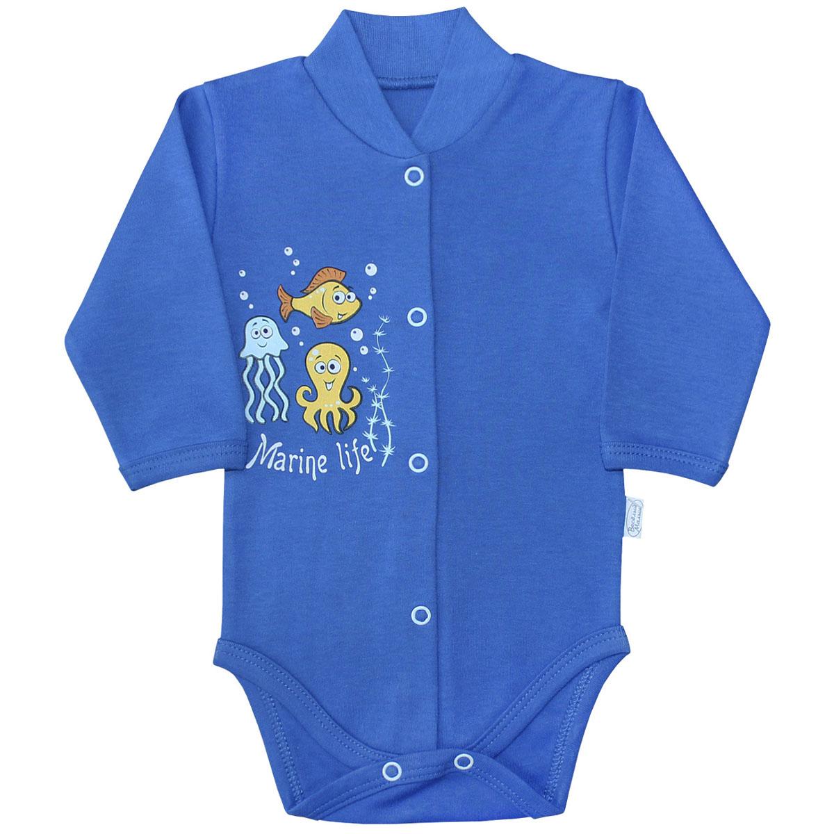 Боди для мальчика Веселый малыш Морская жизнь, цвет: синий. 141/322/мж-C (1). Размер 68
