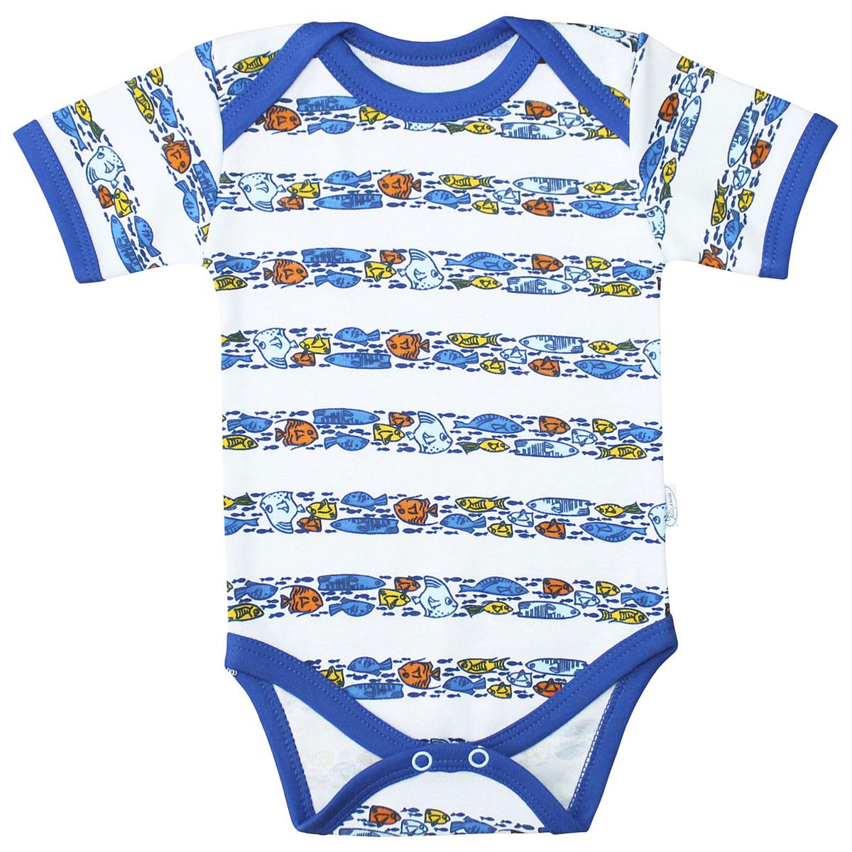 Боди для мальчика Веселый малыш Морская жизнь, цвет: синий. 41322/мж-C (1). Размер 68