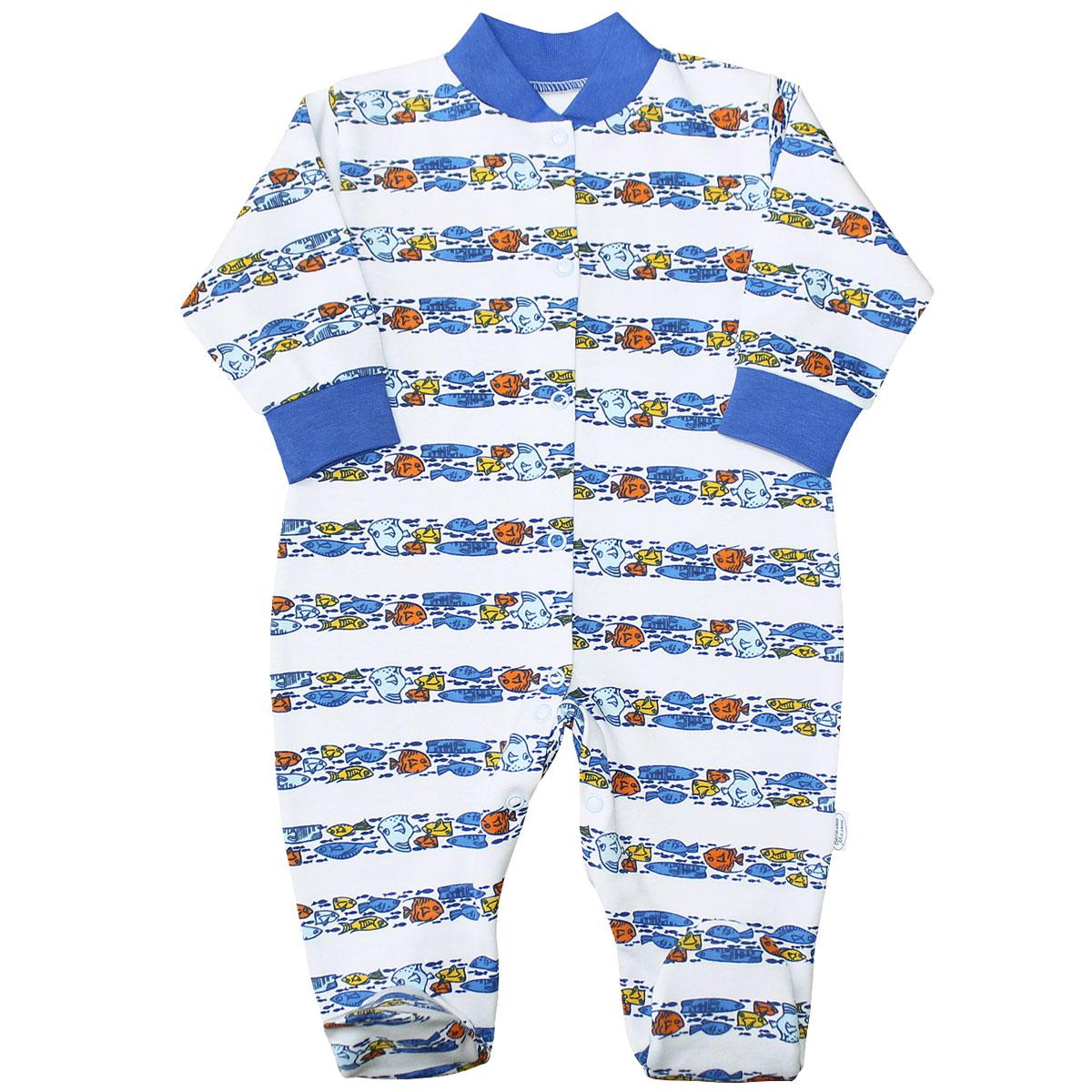 Комбинезон домашний для мальчика Веселый малыш Морская жизнь, цвет: синий. 51322/мж-D (1). Размер 74 комбинезоны и полукомбинезоны веселый малыш комбинезон олени 51142