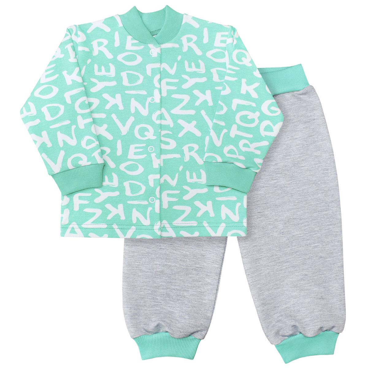 Комплект для мальчика Веселый малыш Буквы: кофточка, брюки, цвет: зеленый. 22136/142/бу-ментол. Размер 74 веселый малыш комплект трусов 2 шт