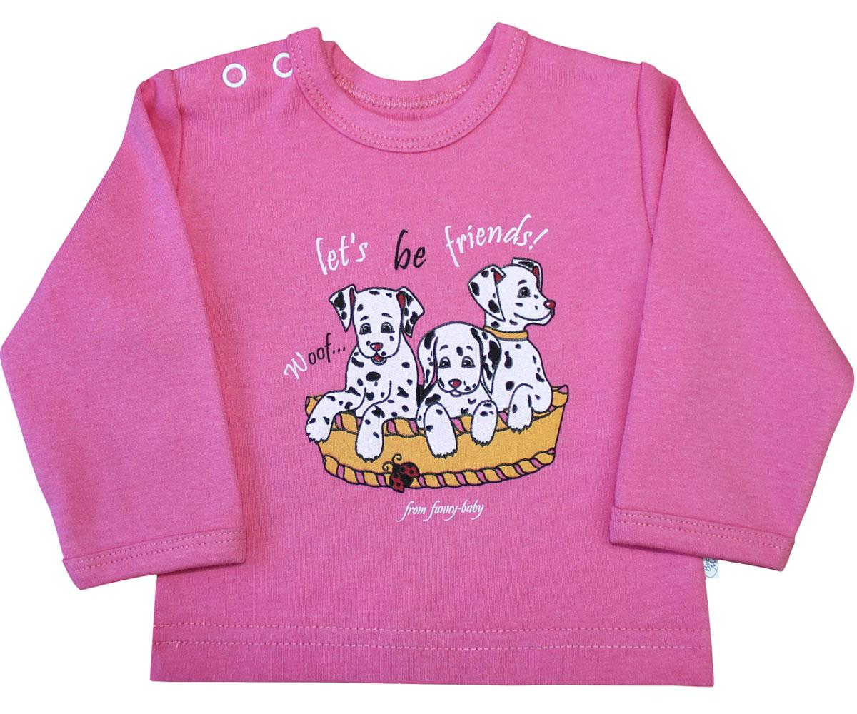 Лонгслив для девочки Веселый малыш Далматинцы, цвет: розовый. 66322/да-E (1). Размер 8066322_далматинцыЛонгслив для девочки Веселый малыш выполнен из качественного материала. Модель с круглым вырезом горловины и длинными рукавами.