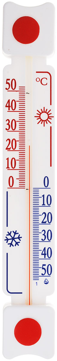 Термометр оконный Стеклоприбор. ТБ-3М1 исп.5Д300164_красный, синийТермометр оконный Стеклоприбор применяется для измерения температуры воздуха на улице. Специально предназначен для пластиковых окон. Корпус термометра выполнен из пластика, а колба изготовлена из ударопрочного стекла. Термометр оснащен широкой, подробной и наглядной шкалой. Изделие имеет широкий рабочий диапазон - от -50 до +50°С с ценой деления 1°С. Благодаря такой шкале термометр отлично подходит для применения в России, Украине, Белоруссии и других странах с умеренным климатом. Не содержит ртути.Модель отличается не только точностью измерений, но и надежностью крепежа. Термометр снабжен двумя одноразовыми липучками. Простота установки является залогом долговечности. Для крепежа достаточно снять пленку с этих липучек (их температура не должна быть ниже 10°С) и прижать измеритель к сухому и чистому стеклу.Термометр всегда точно покажет, какая же температура на улице. С ним погода не преподнесет вам неприятных сюрпризов.