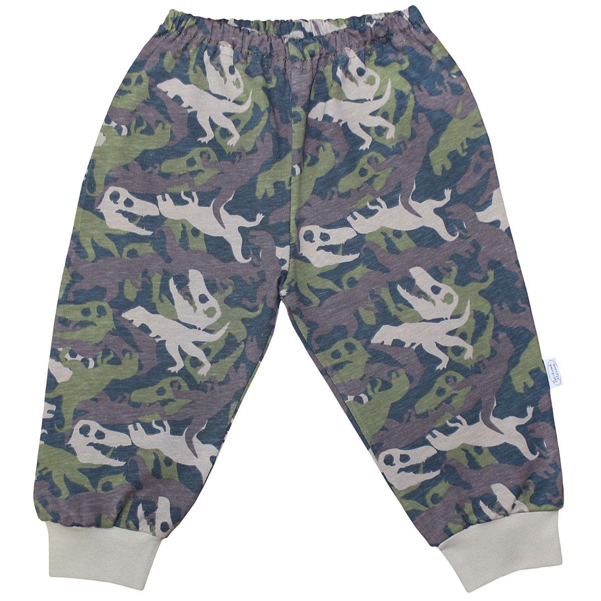 """Штанишки для мальчика Веселый малыш """"Динозавры"""", цвет: темно-зеленый. 33170/ди-хаки. Размер 68"""