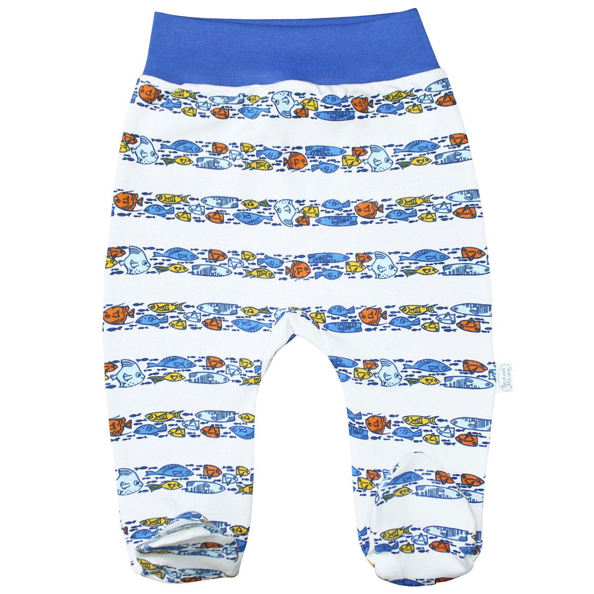Ползунки для мальчика Веселый малыш Морская жизнь, цвет: синий. 32320/мж-D (1). Размер 74 ползунки веселый малыш ползунки морская жизнь 32320