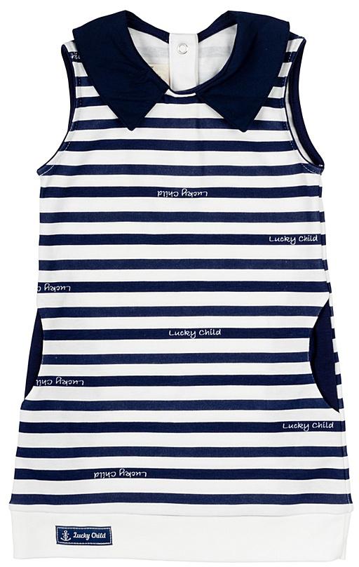 Платье для девочки Lucky Child Лазурный берег, цвет: белый, темно-синий. 28-67Д. Размер 86/92