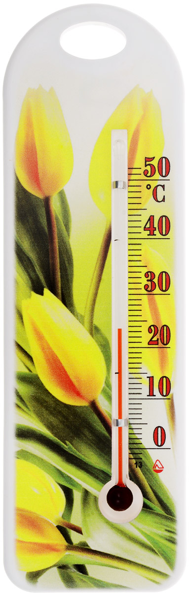 Термометр комнатный Стеклоприбор Желтые тюльпаны. П-15300194_желтые тюльпаныТермометр комнатный Стеклоприбор применяется для измерения температуры воздуха в помещении. Термометр выполнен из пластика с оригинальным рисунком, а колба изготовлена из ударопрочного стекла. Термометр оснащен широкой, подробной и наглядной шкалой. Изделие имеет широкий рабочий диапазон - от 0 до +50°С со шкалой деления в 10°С. Цена деления составляет 1°С. Изделие имеет специальное отверстие для крепления. Не содержит ртути. Для хорошего самочувствия и здоровья идеальный микроклимат в доме создаст температура +18…+24°С.