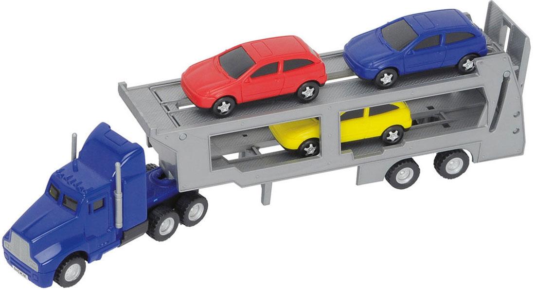 Dickie Toys Трейлер с 3 машинками цвет синий серый кухонный набор bekker bk 3239 7 предметов