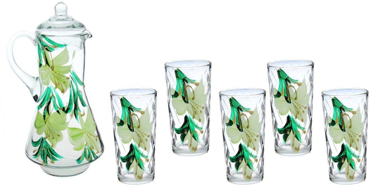 Набор питьевой Хрустальный звон Нежный гиппеаструм, 7 предметов. 11937141193714Набор Хрустальный звон Нежный гиппеаструм состоит из шести высоких стаканов и графина с крышкой. Посуда выполнена из высококачественного стекла в элегантном дизайне с рисунком в виде цветов. Благодаря такому набору пить напитки будет еще вкуснее. Он украсит сервировку стола, а также станет отличным подарком на любой праздник.Предметы набора можно мыть в посудомоечной машине.Объем графина: 1,2 л.Объем стакана: 200 мл.