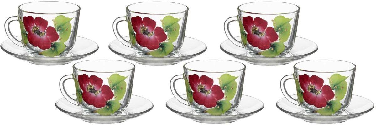 Набор чайный Хрустальный звон, 12 предметов. 1193723 набор для завтрака хрустальный звон цвет прозрачный светло розовый зеленый 3 предмета