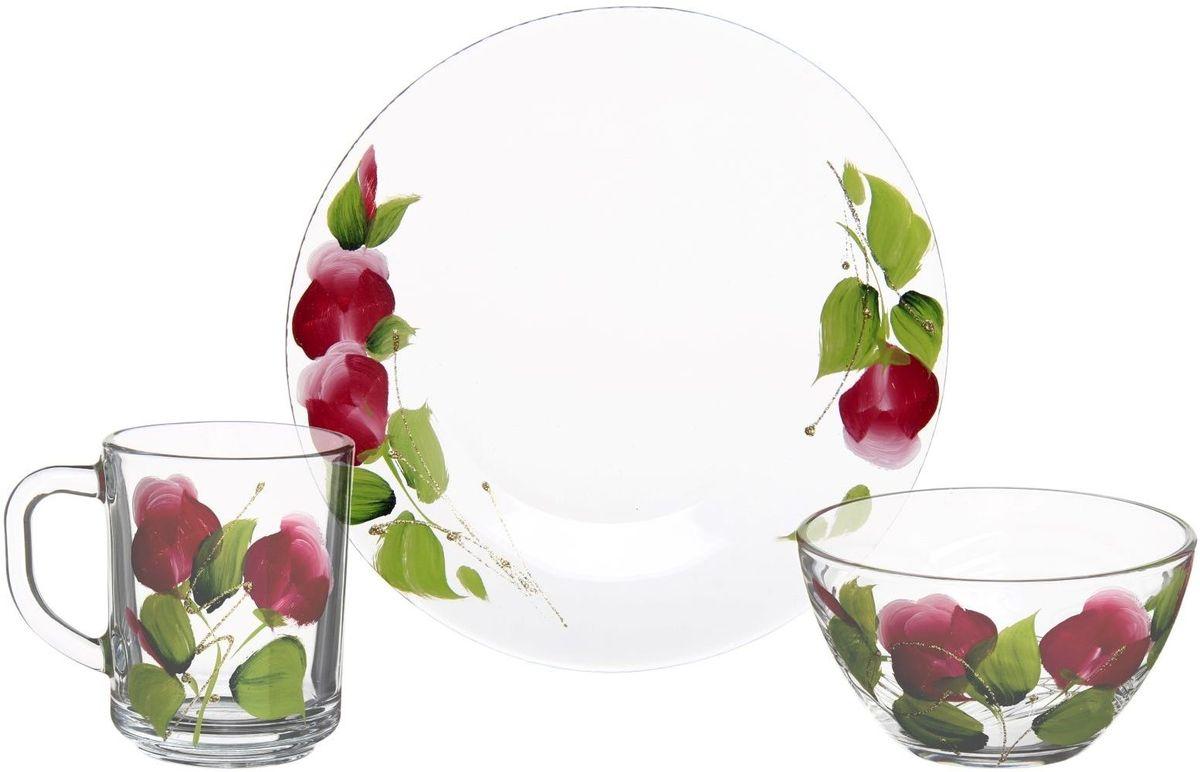 Набор для завтрака Хрустальный звон, 3 предмета. 11937251193725Набор для завтрака Хрустальный звон, состоящий кружки, салатника и тарелки, необходим для любой хозяйки, он сочетает в себе отличное качество и дизайн. Изделия выполнены из высококачественного бесцветного стекла и украшены художественной росписью.Такой набор украсит любой кухонный интерьер и станет хорошим подарком для ваших близких.Объем кружки: 250 мл. Объем салатника: 250 мл. Диаметр тарелки: 20 см.