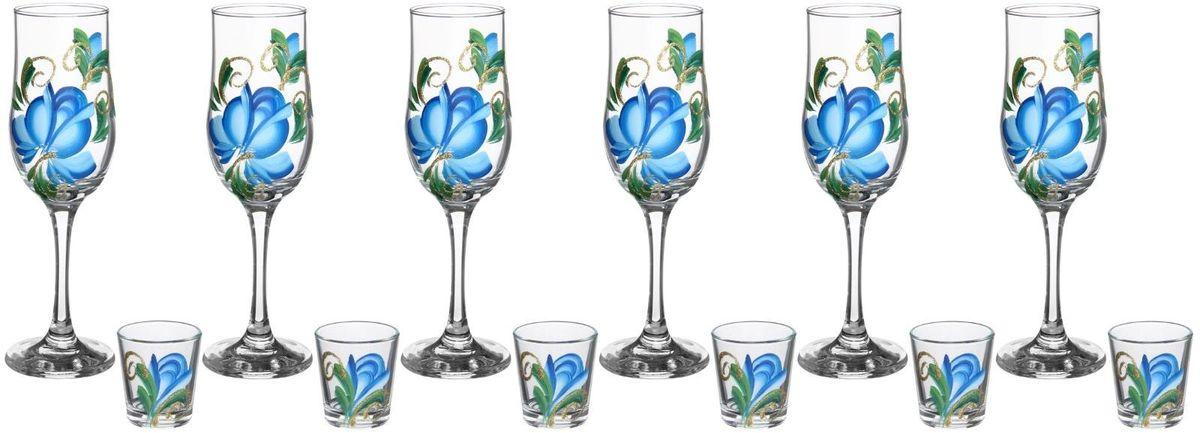 Набор Хрустальный звон: бокал для шампанского 200 мл, 6 шт и стопка, 50 мл, 6 шт. 1193748 набор бокалов для бренди коралл 40600 q8105 400 анжела