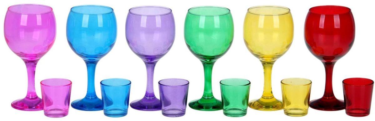 Набор Хрустальный звон Радуга: фужер для вина, 290 мл, 6 шт + стопка, 50 мл, 6 шт. 11937561193756Набор Хрустальный звон Радуга состоит из 6 фужеров для вина и 6 стопок. Изделия выполнены из прочного цветного стекла. Фужеры оснащены высокими ножками. Они сочетают в себе элегантный дизайн и функциональность. Такой набор прекрасно оформит праздничный стол и создаст приятную атмосферу за романтическим ужином. Набор также станет хорошим подарком к любому случаю.Объем фужера: 290 мл.Объем стопок: 50 мл.