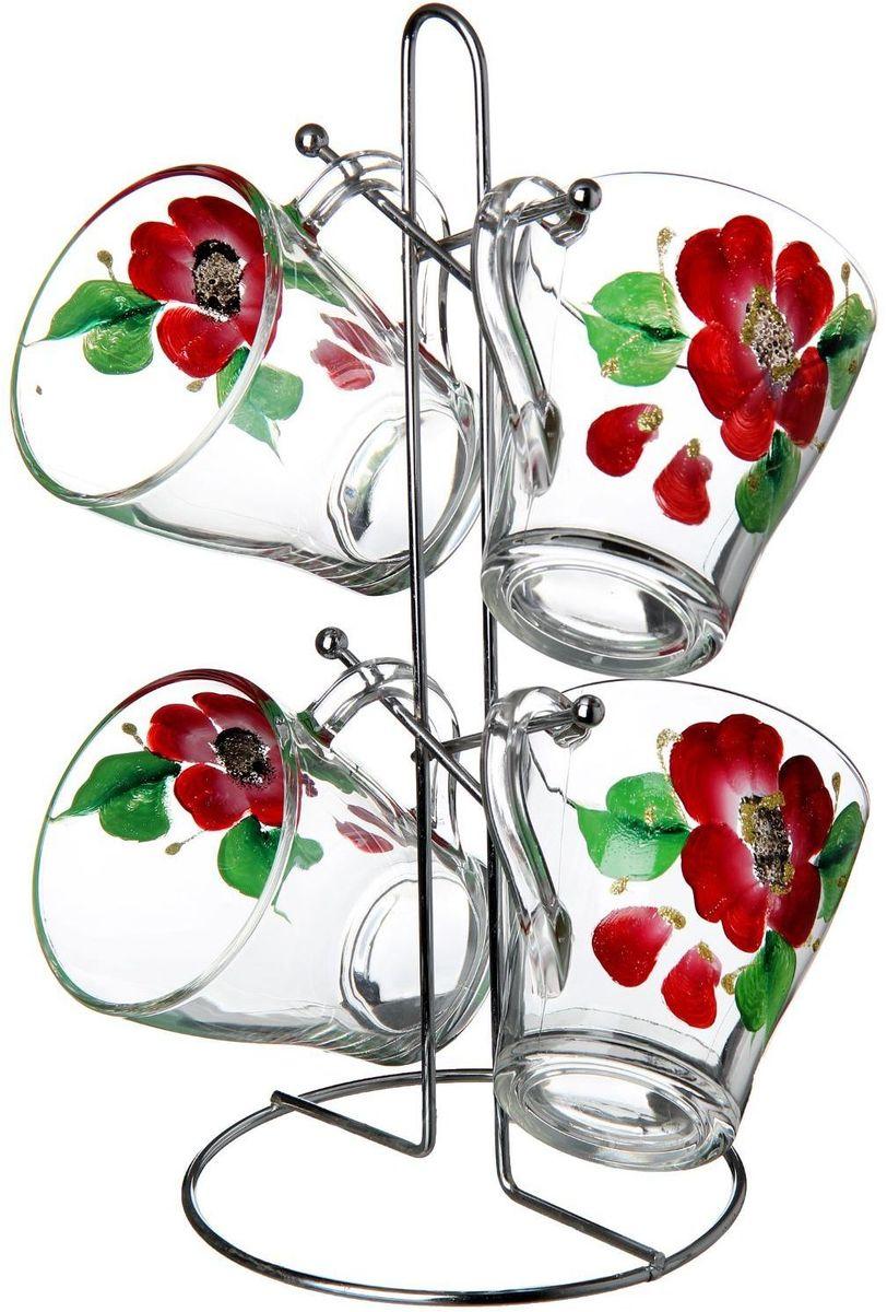 Набор кружек Хрустальный звон, на подставке, 250 мл, 5 предметов. 12755521275552Набор Хрустальный звон состоит из 4 кружек и подставки. Кружки изготовлены из стекла. Теплостойкие ручки обеспечивают комфортное использование. Кружки подходят для горячих и холодных напитков. Изящный дизайн придется по вкусу и ценителям классики, и тем, кто предпочитает современный стиль. Он настроит на позитивный лад и подарит хорошее настроение с самого утра. В комплекте - металлическая подставка с крючками для подвешивания кружек. Набор кружек - идеальный и необходимый подарок для вашего дома и для ваших друзей на праздники, юбилеи и торжества.