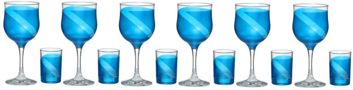 Набор Хрустальный звон: фужер для вина Винт, 290 мл, 6 шт + стопка Ода, 50 мл, 6 шт1760258