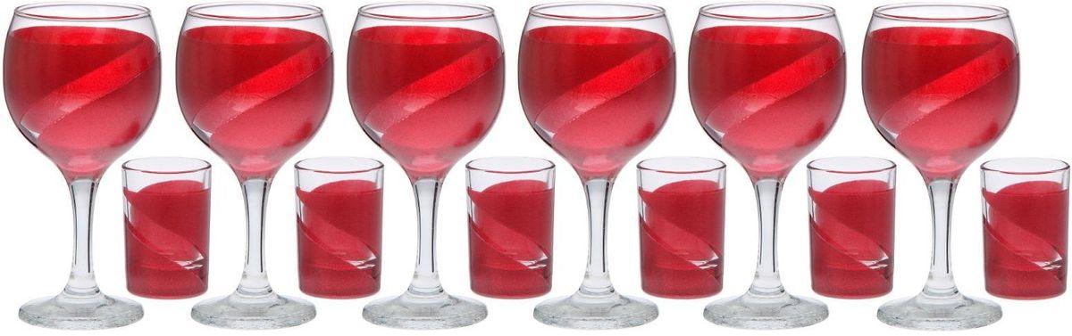 Набор бокалов и стопок Хрустальный звон Винт, цвет: красный, 12 предметов2067785