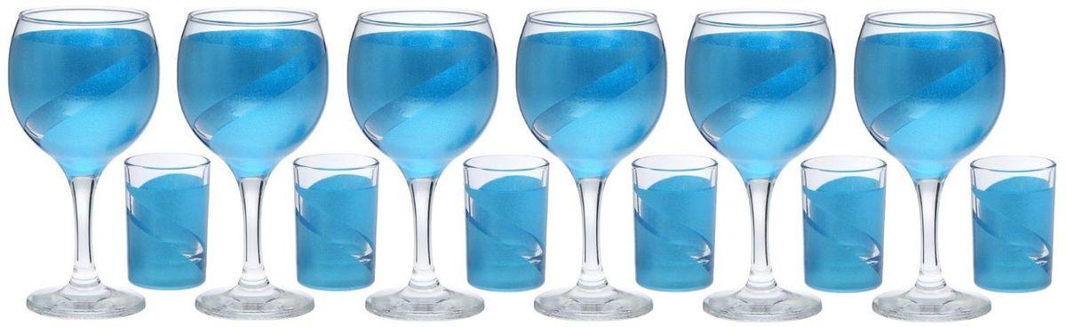 Набор бокалов и стопок Хрустальный звон Винт, цвет: синий, 12 предметов2067786
