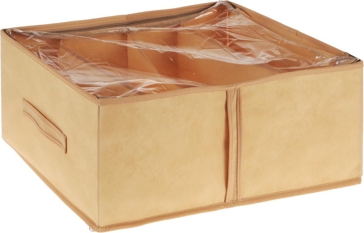 Кофр для обуви Все на местах Minimalistic, цвет: бежевый, 4 секции, 34 x 48 x 20 см1011017.Компактный складной органайзер из высококачественного нетканого материала с прозрачной крышкой из ПВХ. Материалпозволяет воздуху свободно проникать внутрь, но непропускает пыль. Органайзер отлично держит форму,благодаря прочным вставкам.Изделие имеет 4 секции для хранения обуви.Такой органайзер позволит вам хранить обувь компактно и удобно.Размер секции: 17 х 24 см.