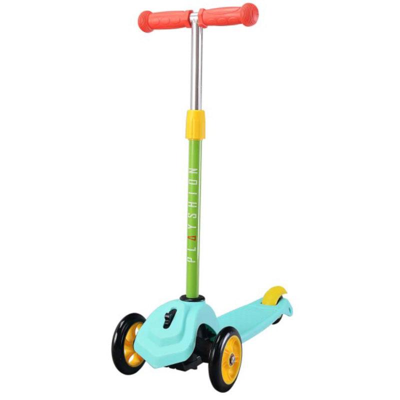 Самокат Playshion, 3-колесный, цвет: голубойFS-MS006Playshion Mini - детский трехколесный самокат для самых маленьких с наклонной системой поворота руля и блокировкой колес.- Подходит для детей от 2-х до 5-ти лет, максимальная нагрузка 30 кг- Широкое многообразие цветов, стильная дизайнерская платформа- Съемный руль для удобства переноски самоката, регулируемый по высоте- Система блокировки передних колес для обучения ездить прямо избегая падений- Низкая платформа для удобства отталкивания от земли, задний тормоз-крыло- Механизм поворота руля - наклонный- Ручки с ограничителями на концах - при падении меньше вероятность получить травму руки- Большие и проходимые передние колеса - 120 мм, подшипники ABEC-9- Широкая и устойчивая платформа с противоскользящим покрытием, выполнена из шероховатого пластика