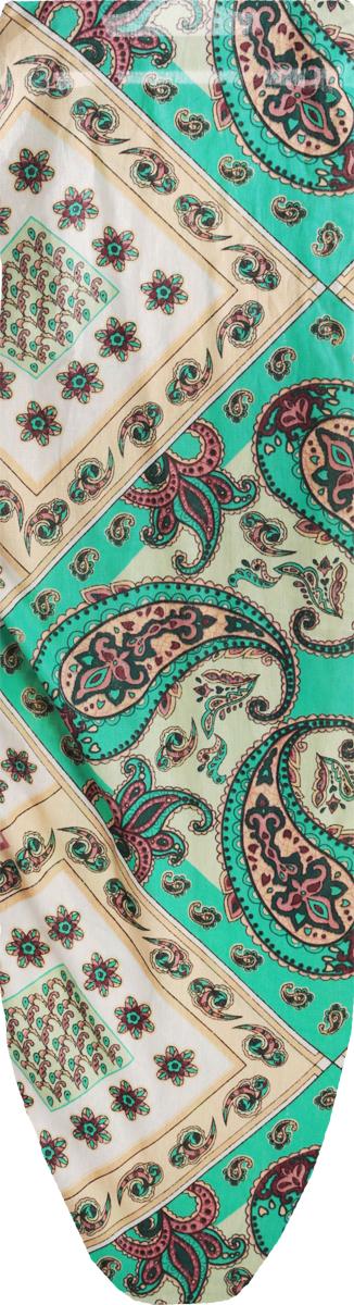 Чехол для гладильной доски Eva, цвет: зеленый, светло-зеленый, бежевый, 129 х 45 см чехол для гладильной доски brabantia ящерица с войлоком 124 см х 38 см цвет голубой 265006