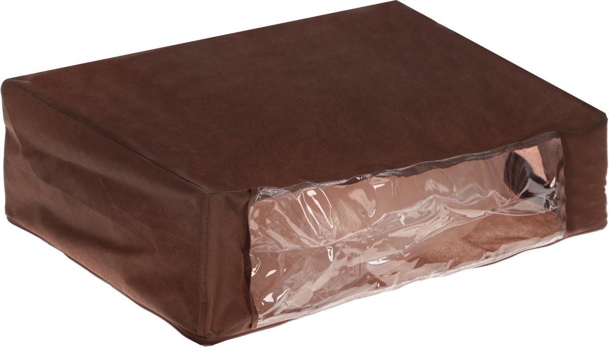 Чехол для хранения одеял Eva, цвет: коричневый, 60 х 40 х 20 смЕ52_коричневыйЧехол для хранения одеял Eva изготовлен из полипропилена и ПВХ. Нетканый материал чехла пропускает воздух, что позволяет изделиям дышать, сохраняет от пыли и грязи, обеспечивает удобную транспортировку, защищает от света и насекомых. Это особенно необходимо для изделий из натуральных материалов. Благодаря такому чехлу, вещи не впитывают посторонние запахи. Застегивается на застежку-молнию.Материал: ППР, ПВХ.Размер: 60 х 40 х 20 см.
