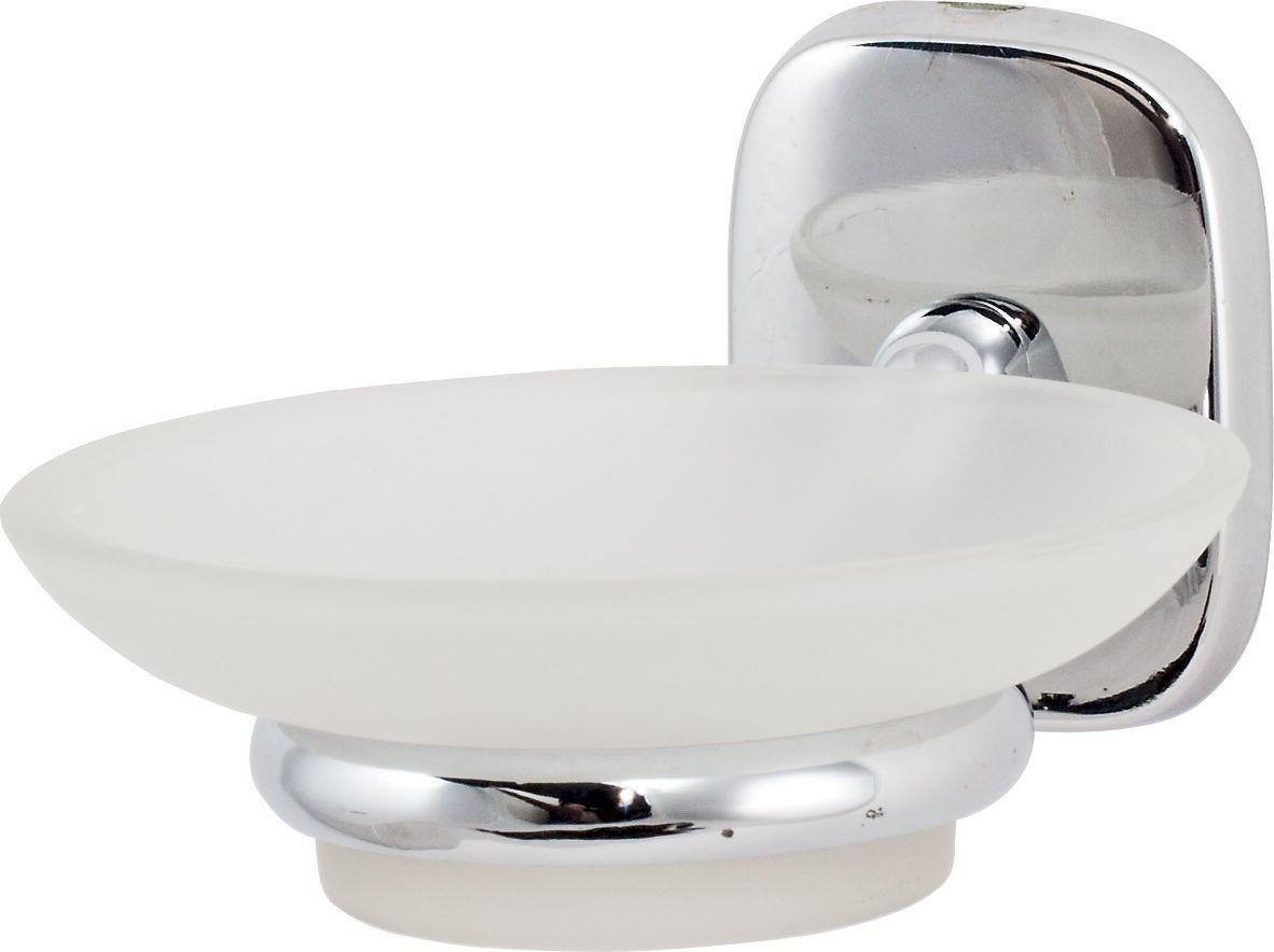 Держатель мыльницы Del Mare 1500, цвет: хром1502Практичный и стильный аксессуар для ванной комнаты Del Mare 1500 - хромированный металлический держатель не подвержен коррозии, а мыльница из матового стекла легко отмывается от загрязнений.