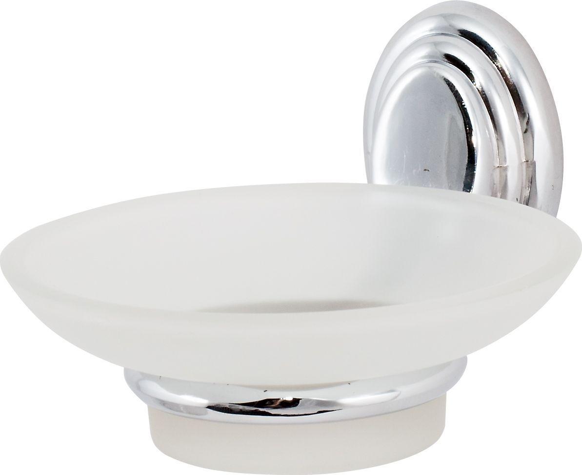 Держатель мыльницы Del Mare 3100, цвет: хром3102Практичный и стильный аксессуар для ванной комнаты Del Mare 3100 - хромированный металлический держатель не подвержен коррозии, а мыльница из матового стекла легко отмывается от загрязнений.