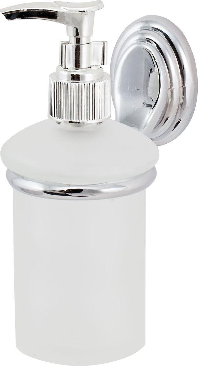 """Дозатор жидкого мыла Del Mare """"3100"""" выполнен из стекла и стали. Он удобен для применения в ванных комнатах, уборных и на кухнях. Изделие оснащено крышкой с кнопкой, обеспечивающей дозированную подачу мыла."""