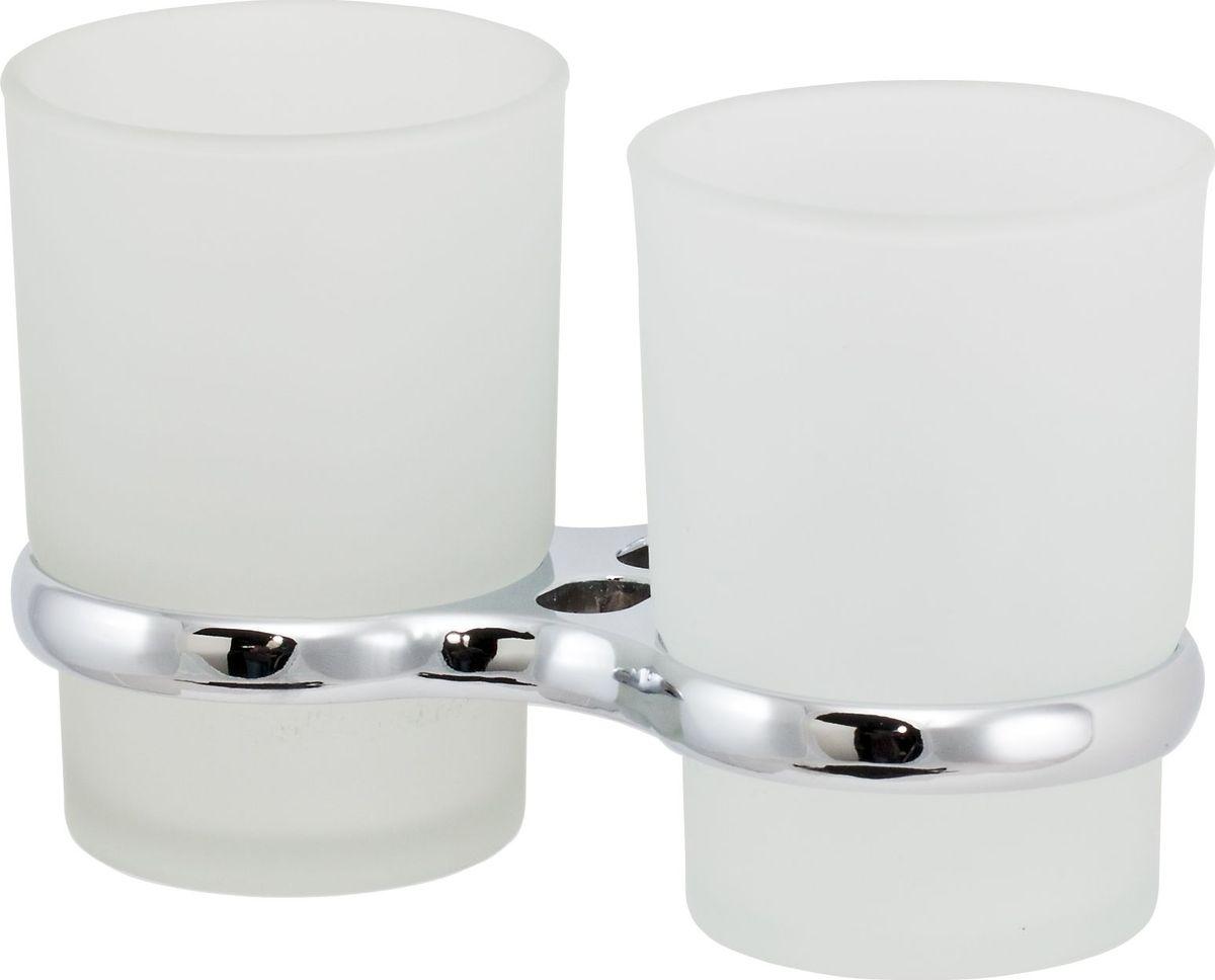 Держатель стакана Del Mare 3100, двойной, цвет: хром3111Держатель для зубных щеток и паст Del Mare 3100 - это настенный стаканчик из матового стекла, укрепленный на металлическом каркасе. Крепление поставляется в комплекте. Стеклянный подвесной стакан с возможностью размещения зубных щеток и пасты позволит организовать порядок в ванной комнате.