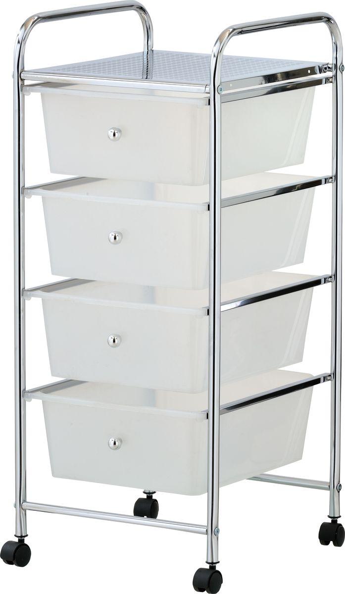"""Стеллаж напольный для ванной """"Swensa"""" с четырьмя ящиками — практичный аксессуар для ванной комнаты, предназначенный для хранения текстильных изделий, гигиенических средств и других важных мелочей. Металлическая конструкция оборудована четырьмя выдвигающимися пластиковыми ящиками с ручками. Наличие колес, закрепленных в основании стеллажа, обеспечивает высокую мобильность и удобство перемещения конструкции."""