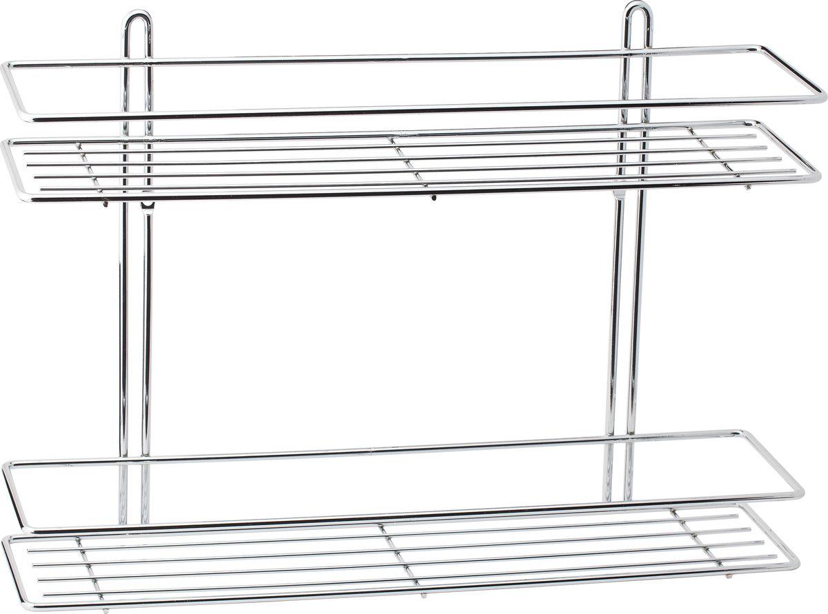 Полка для ванной Swensa, 2-ярусная, цвет: хромSWR-022Удобная и практичная прямая полка для ванной Swensa выполнена из хромированной стали. Она крепится при помощи двух шурупов с дюбелями (входят в комплект).Полка впишется в интерьер ванной комнаты и позволит вам удобно и практично хранить предметы домашнего обихода.