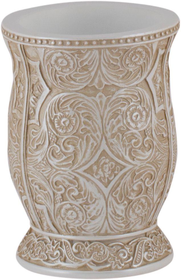 """Стакан для ванной Swensa """"Алора"""" – изделие привлекательной формы с необычным декором. Богатые флористические узоры, изображенные на нем, эффектно смотрятся в классическом интерьере ванной комнаты. Изделие изготовлено из полирезина - современного материала, не имеющего пор и отличающегося гигиеничностью и прочностью. Поверхность изделия легко очищается раствором воды с мылом."""