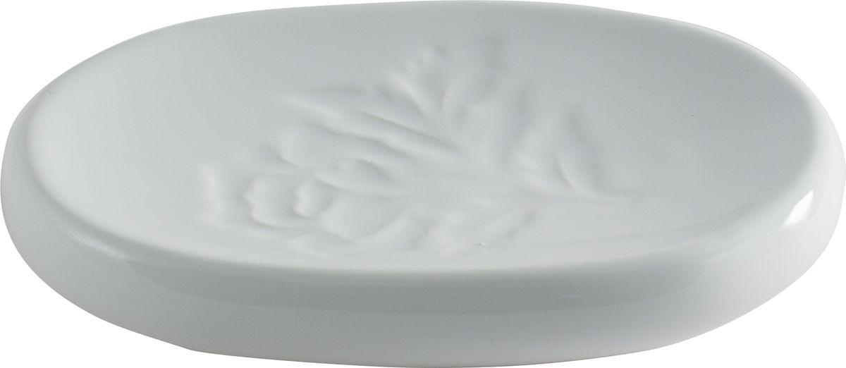 """Мыльница Swensa """"Пион"""" — обязательный атрибут ванной комнаты. Изящное изделие, выполненное из белоснежной керамики, декорировано рельефным флористическим орнаментом. Эта эффектная мыльница станет органичным дополнением интерьера ванной комнаты, выдержанного в классическом стиле."""